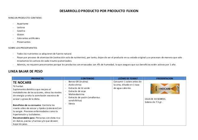 DESARROLLO PRODUCTO POR PRODUCTO FUXION NINGUN PRODUCTO CONTIENE: - Aspartame - Lactosa - Caseína - Gluten - Colorantes ar...