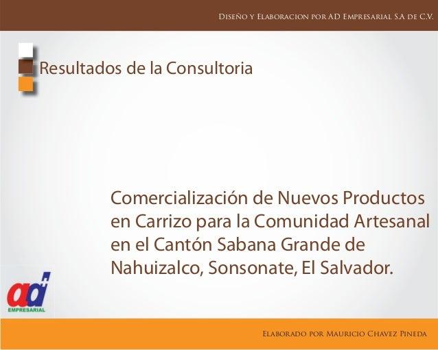 Comercialización de Nuevos Productos en Carrizo para la Comunidad Artesanal en el Cantón Sabana Grande de Nahuizalco, Sons...
