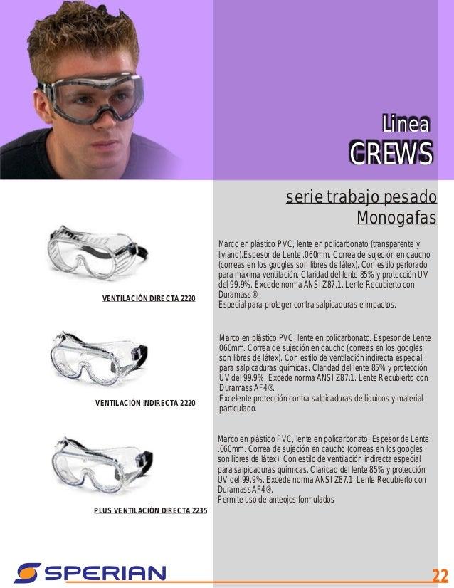 ec7cdccebd Linea CREWS serie trabajo pesado Monogafas Marco en plástico PVC, lente en  policarbonato (transparente y liviano).Espesor de Lente .060mm.
