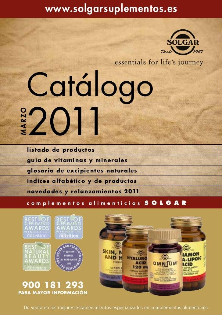 www.solgarsuplementos.es      Catálogo      2011M AR ZO      listado de productos      guía de vitaminas y minerales      ...