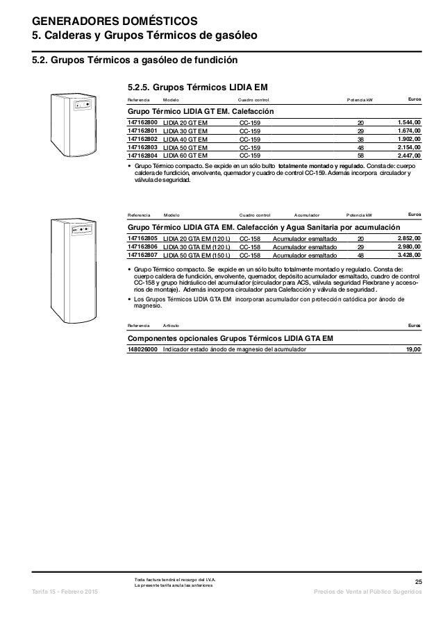 Catalogo tarifa baxi 2015 for Tarifa roca calefaccion