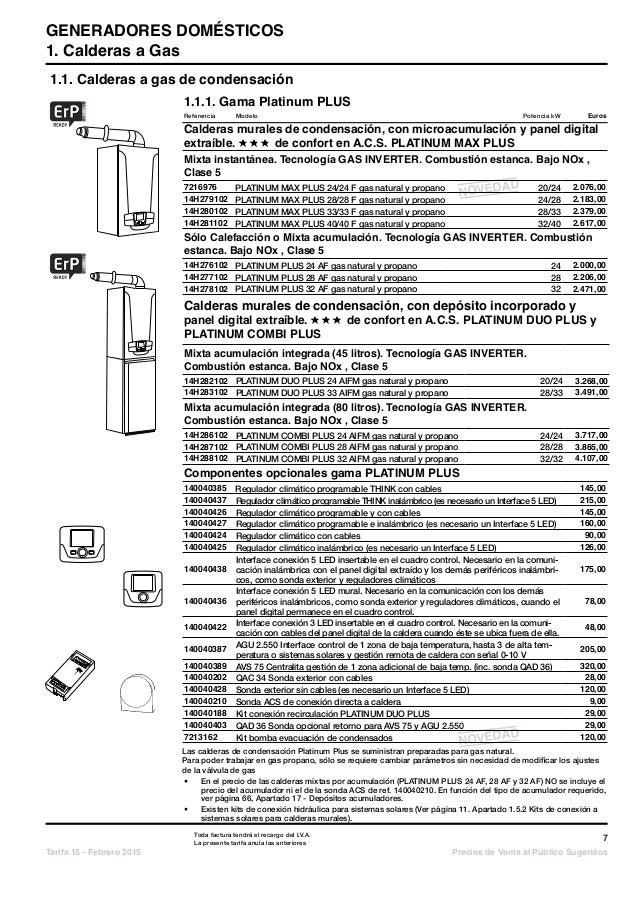 Catalogo tarifa baxi 2015 for Tarifa baxi roca