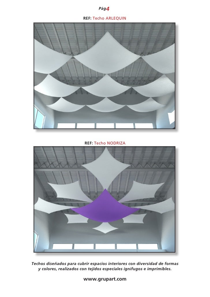 Catalogo techos telas tensadas 2012 for Telas para visillos de salon