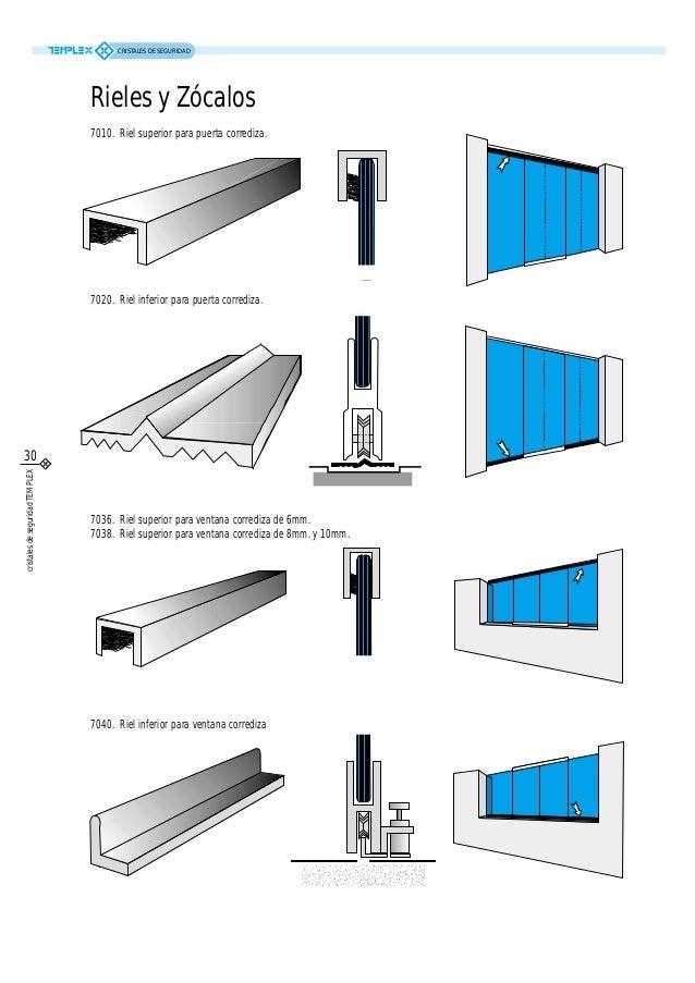 Catalogo templex cristales de seguridad for Riel para puerta corrediza