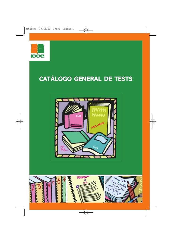 catalogo   19/11/07   10:35   Página 1           CATÁLOGO GENERAL DE TESTS