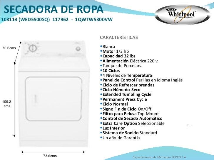 Catalogo whirlpool - Medidas de lavadoras y secadoras ...