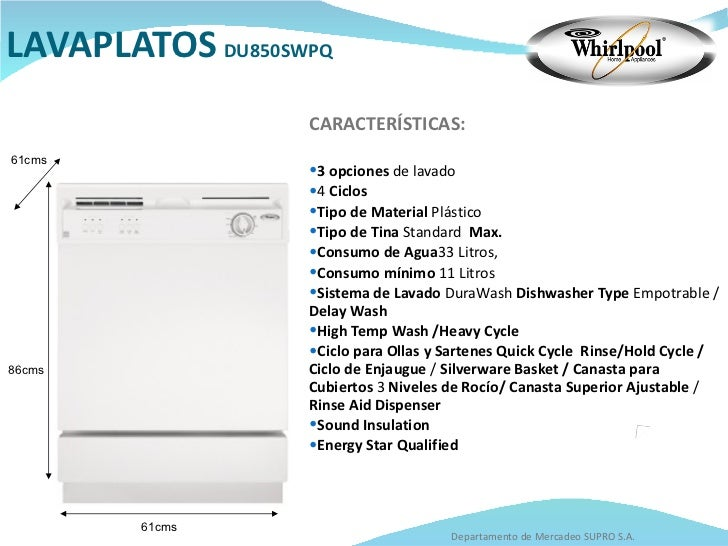 Catalogo whirlpool for Medidas de lavavajillas