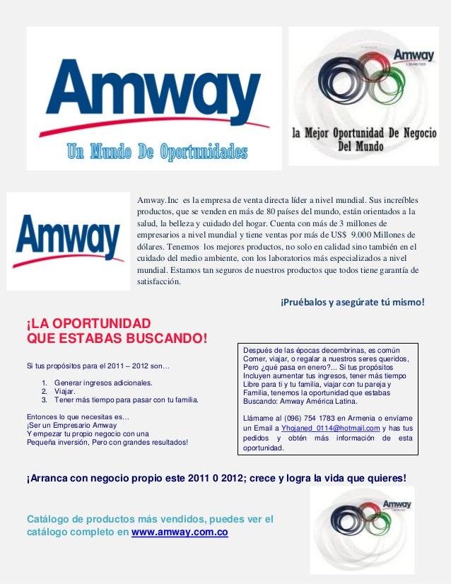 Amway.Inc es la empresa de venta directa líder a nivel mundial. Sus increíbles productos, que se venden en más de 80 paíse...