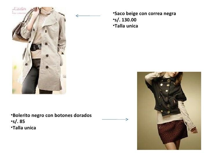 <ul><li>Saco beige con correa negra </li></ul><ul><li>s/. 130.00 </li></ul><ul><li>Talla unica </li></ul><ul><li>Bolerito ...