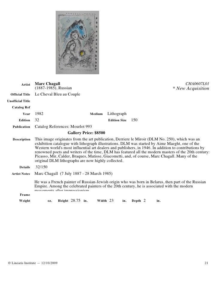 Artist    Marc Chagall                                                                          CHA0607L01                ...
