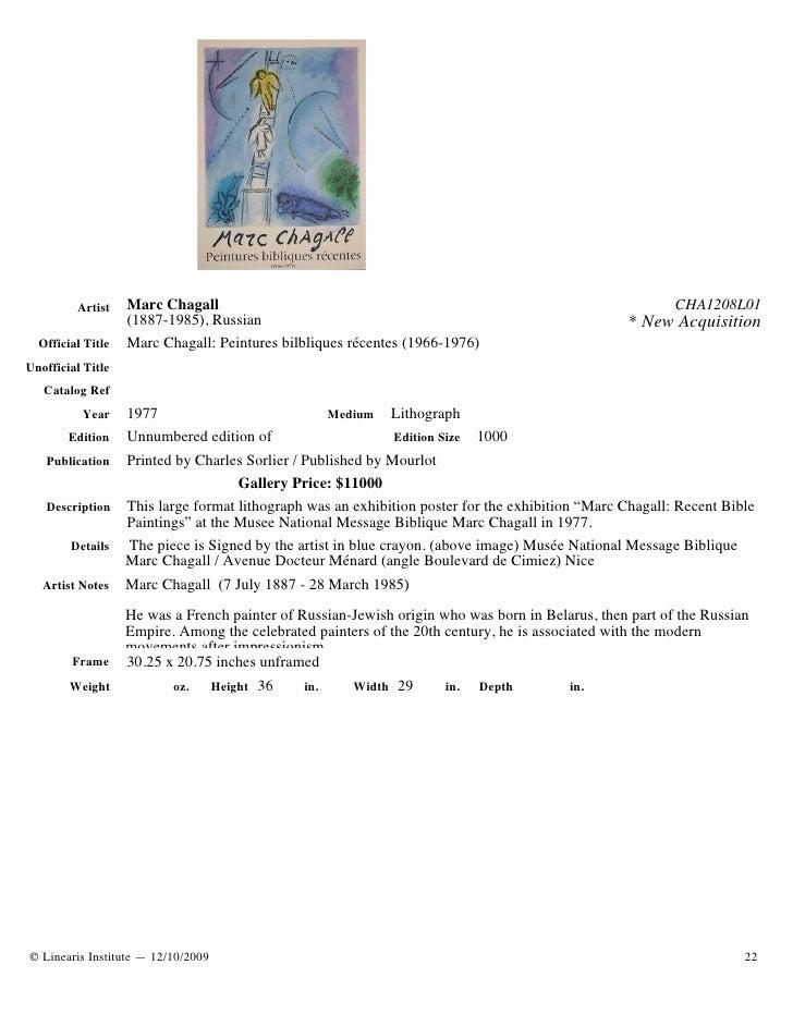 Artist    Marc Chagall                                                                       CHA1208L01                   ...