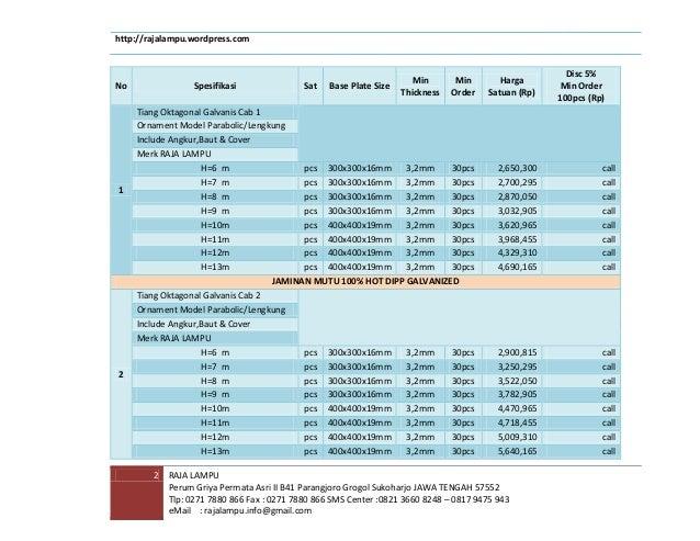 Daftar Harga Tiang PJU Galvanis 2014 Slide 3