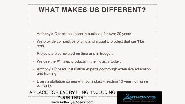 AnthonysClosets.com ANTHONYu0027S CLOSETS, SHOWER DOORS AND MORE Anthony  Pergola, President; 4.