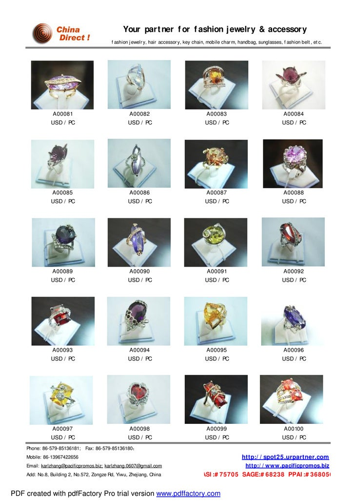 our jewelry catalog sample