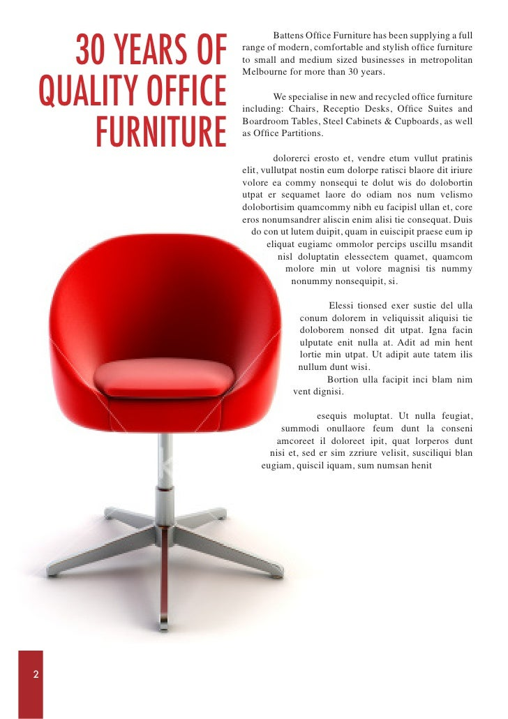 Sample Catalogue for Office Furniture
