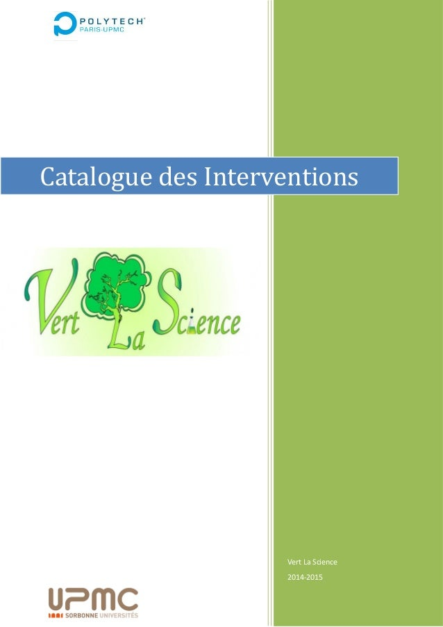 Vert La Science 2014-2015 Catalogue des Interventions
