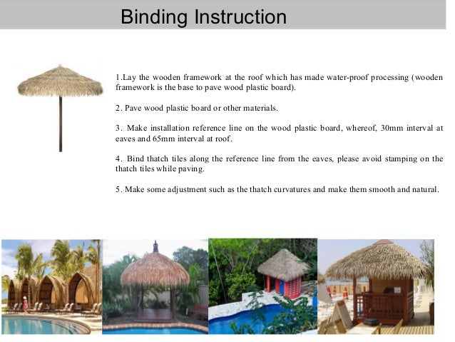 Artificial Thatch Roof Decoration Material For Resort Theme Park Beac