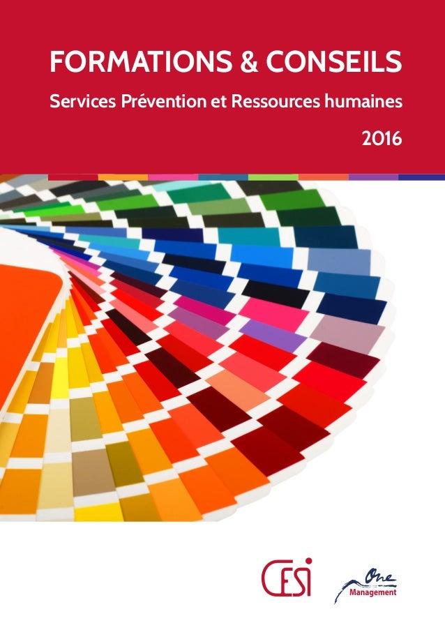 FORMATIONS & CONSEILS Services Prévention et Ressources humaines 2016