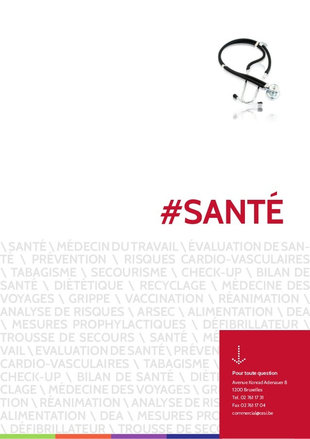 SANTÉMÉDECINDUTRAVAILÉVALUATIONDESAN- TÉ  PRÉVENTION  RISQUES CARDIO-VASCULAIRES  TABAGISME  SECOURISME  CHECK-UP  BILAN D...