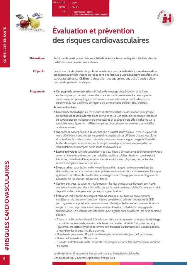 18 CONSEILCESIENSANTÉ 18 CON SEIL Évaluation et prévention des risques cardiovasculaires Thématique Politique de santé pré...
