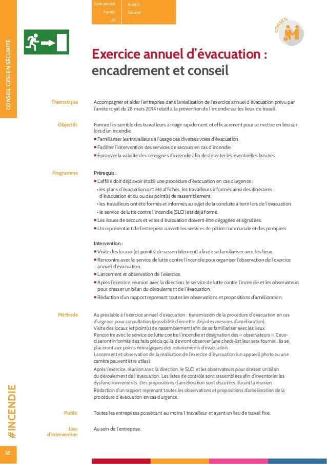 39 CONSEILCESIENSÉCURITÉ 39 CON SEIL Code produit B14 Famille Sécurité UP - État des lieux initial ELI Thématique État des...