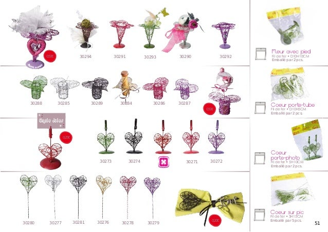 30294  0,50€  30290  30293  30292  Fleur avec pied  Fil de fer • D10H10CM Emballé par 2 pcs.  ne a n n é  e  B  on  30291 ...