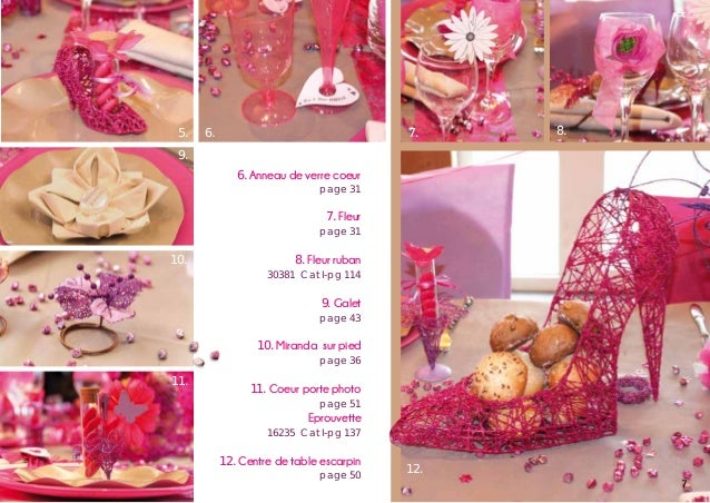 5.  7.  6.  8.  9. 6. Anneau de verre coeur  page 31  7. Fleur  page 31  10.  8. Fleur ruban  30381 Cat I-pg 114  9. Galet...