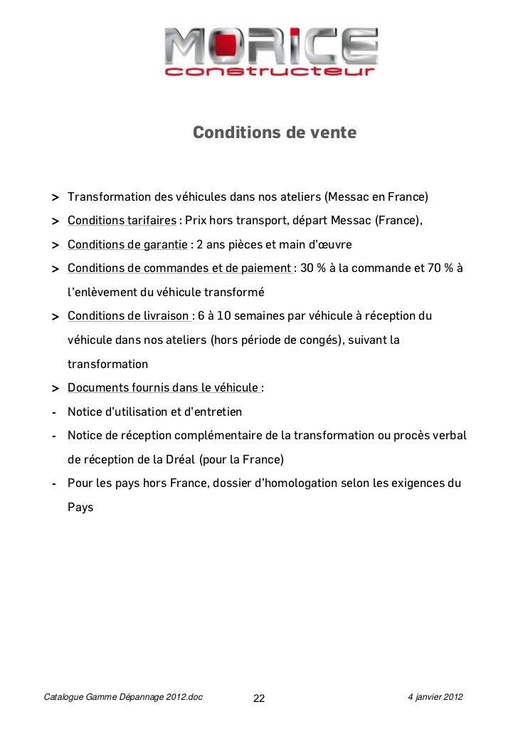 Conditions de vente > Transformation des véhicules dans nos ateliers (Messac en France) > Conditions tarifaires : Prix hor...