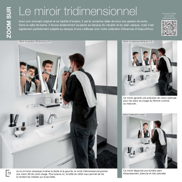 Catalogue meubles de salle de bains unique 2015 - Miroir trois faces salle de bain ...