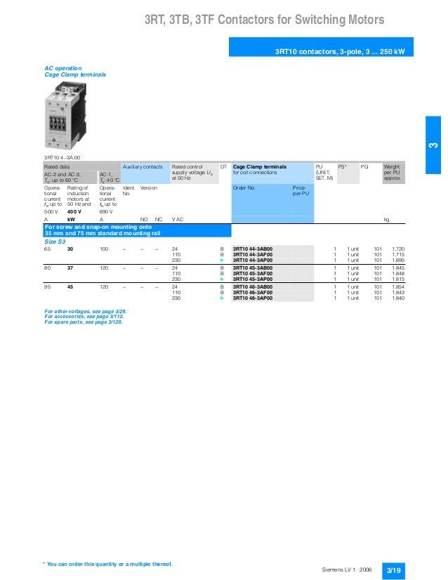 Siemens contactor 3rt catalogue