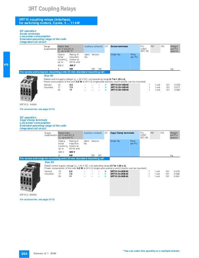 Siemens 3rt contactor catalogue