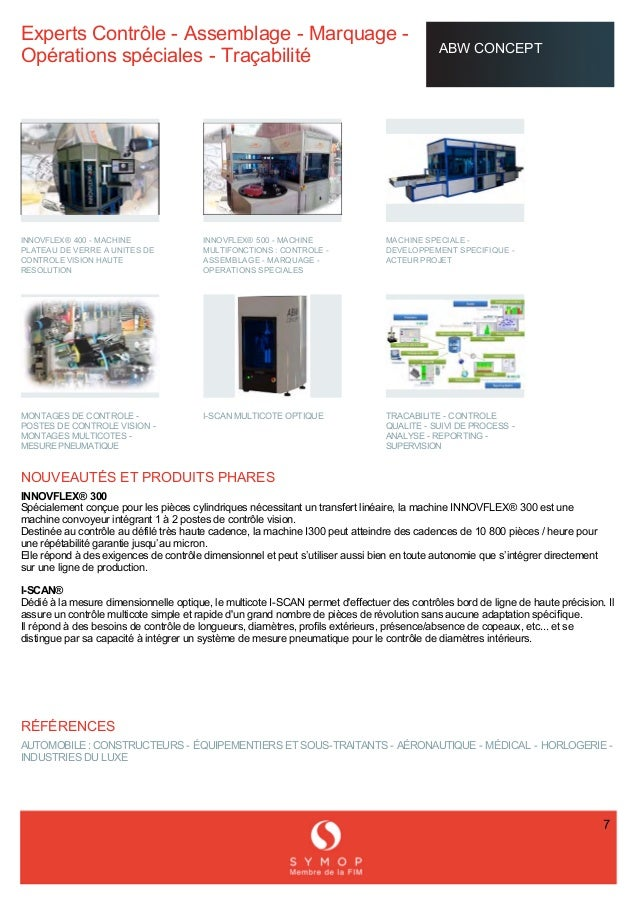 ExpertsContrôleAssemblageMarquage OpérationsspécialesTraçabilité ABWCONCEPT     INNOVFLEX®...
