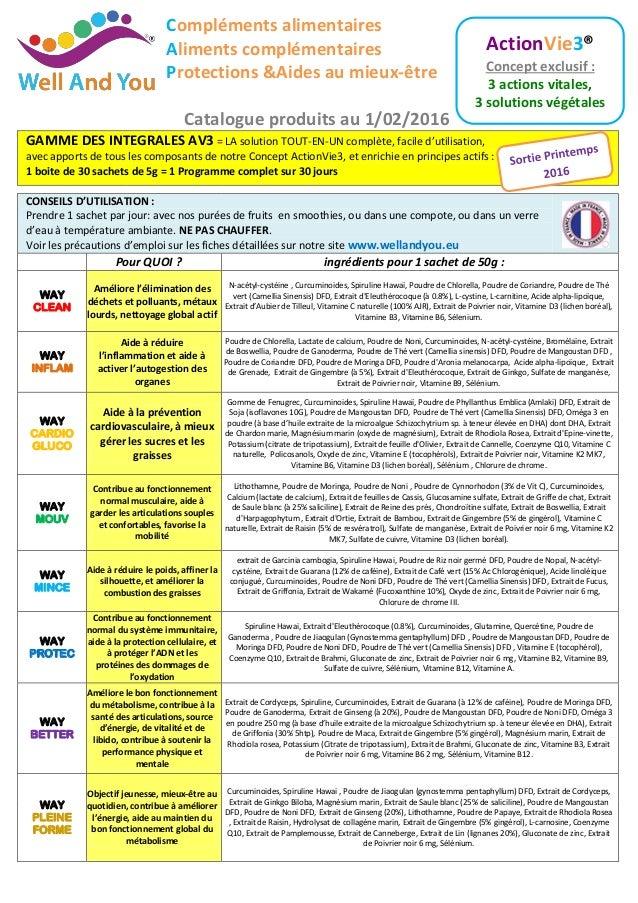 Compléments alimentaires Aliments complémentaires Protections &Aides au mieux-être Catalogue produits au 1/02/2016 GAMME D...