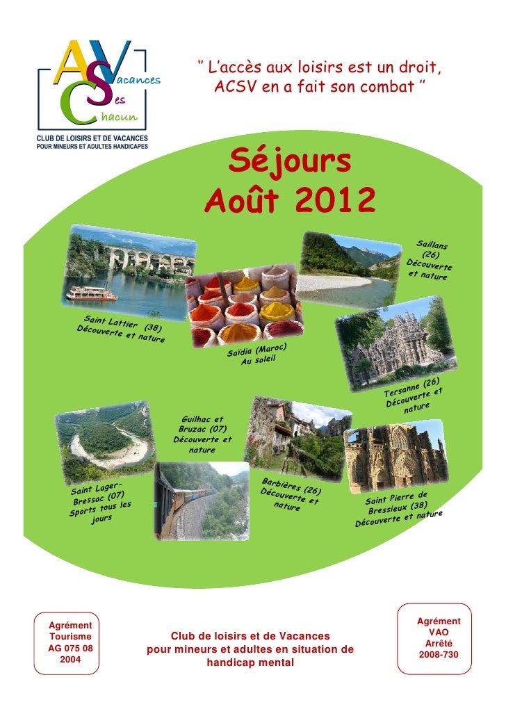 Catalogue acsv t 2012 for Club piscine catalogue