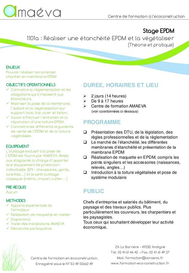 Centre de formation à l'écoconstruction Stage EPDM 1101a : Réaliser une étanchéité EPDM et la végétaliser (Théorie et prat...