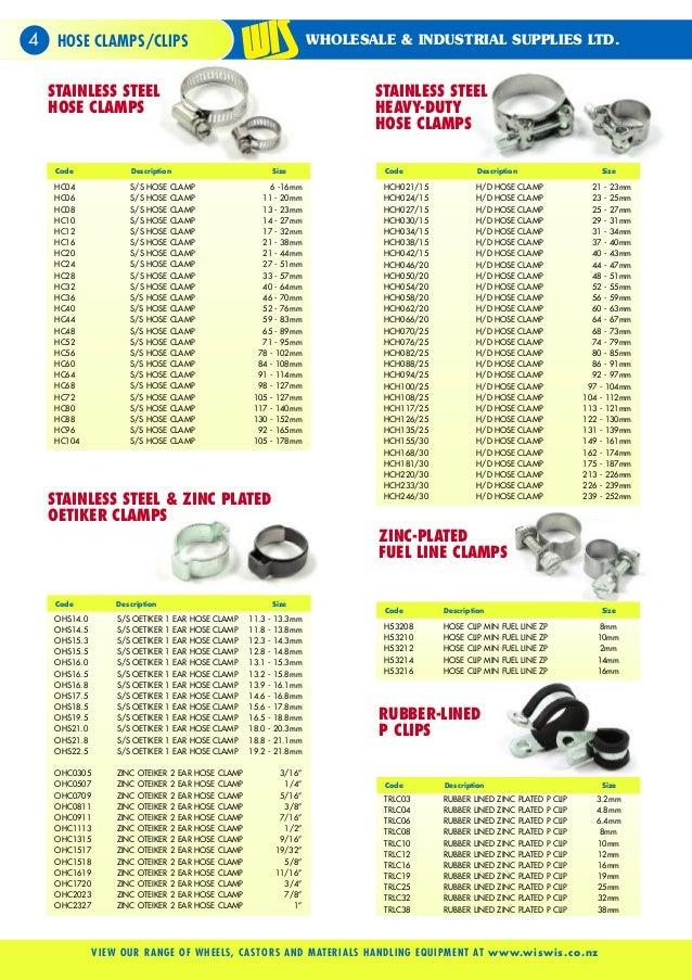 hose clamp size chart pdf