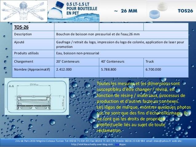 TOS-26 TOS-26 Description Bouchon de boisson non pressurisé et de l'eau;26 mm Ajouté Gaufrage / retrait du logo, impressio...