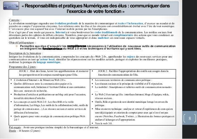 «Responsabilitéset pratiquesNumériquesdes élus : communiquerdansl'exercicede votre fonction»Contexte :La révolution numéri...