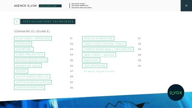 20 SOMMAIRE GLOBAL SOMMAIRE RÉFÉRENCES SOMMAIRE SPÉCIALISATIONS AGENCE D_VOX CATALOGUE 2020 S P É C I A L I S A T I O N S ...