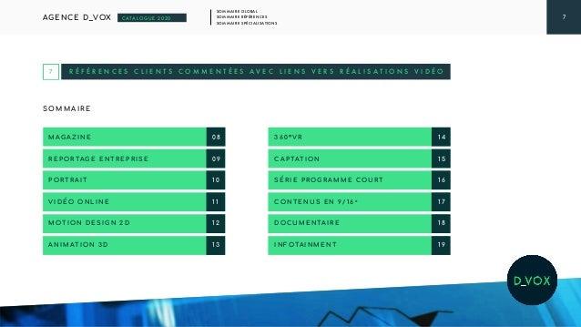 7 SOMMAIRE GLOBAL SOMMAIRE RÉFÉRENCES SOMMAIRE SPÉCIALISATIONS AGENCE D_VOX CATALOGUE 2020 R É F É R E N C E S C L I E N T...
