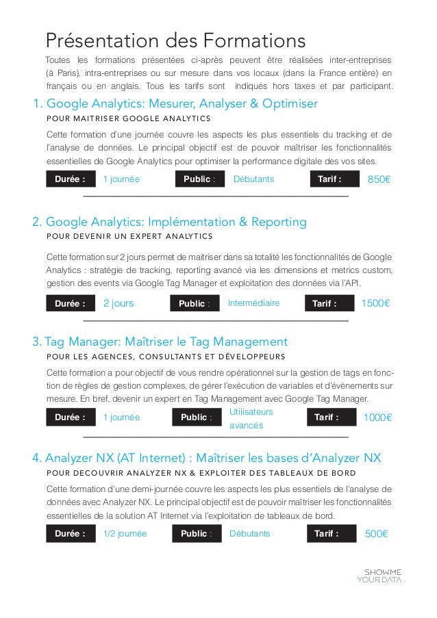 Présentation des Formations 1. Google Analytics: Mesurer, Analyser & Optimiser POUR MAITRISER GOOGLE ANALYTICS Cette forma...