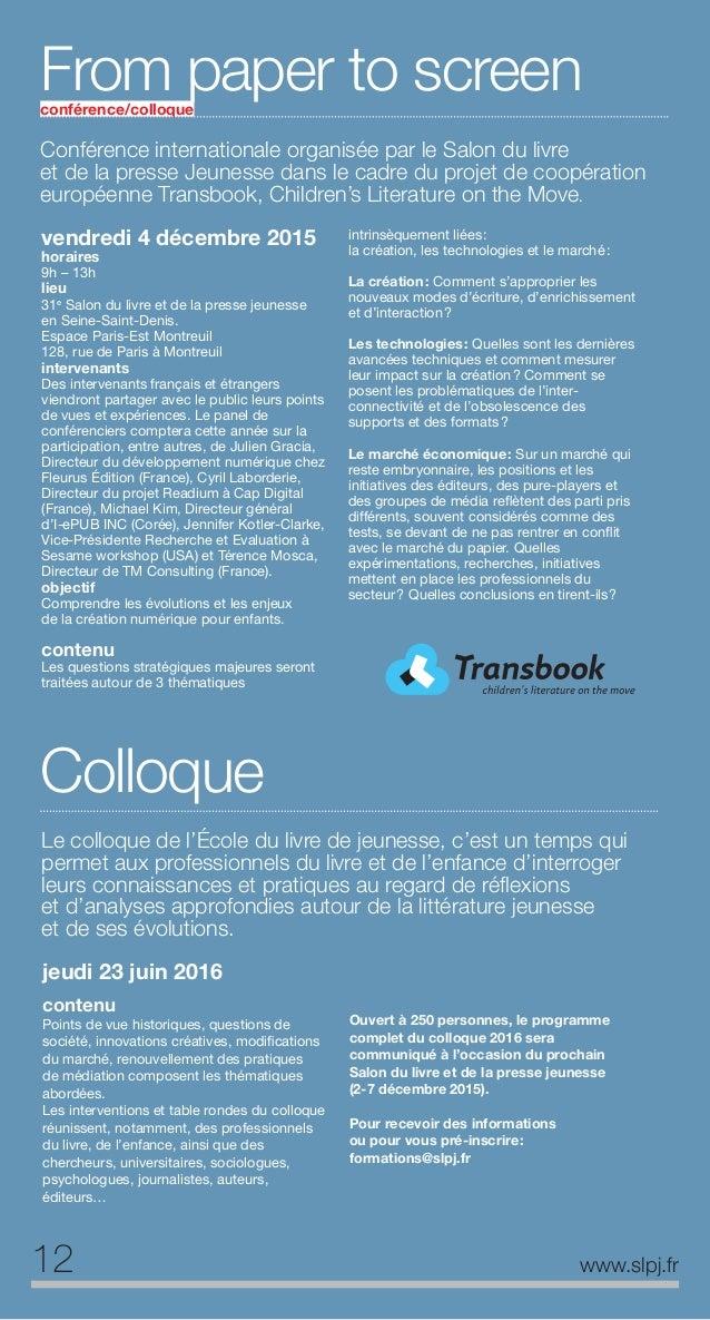 13www.slpj.fr Médiation littéraireet actionsociale Médiation littéraire et action sociale lundi 25 janv 2016 horaires 10h ...