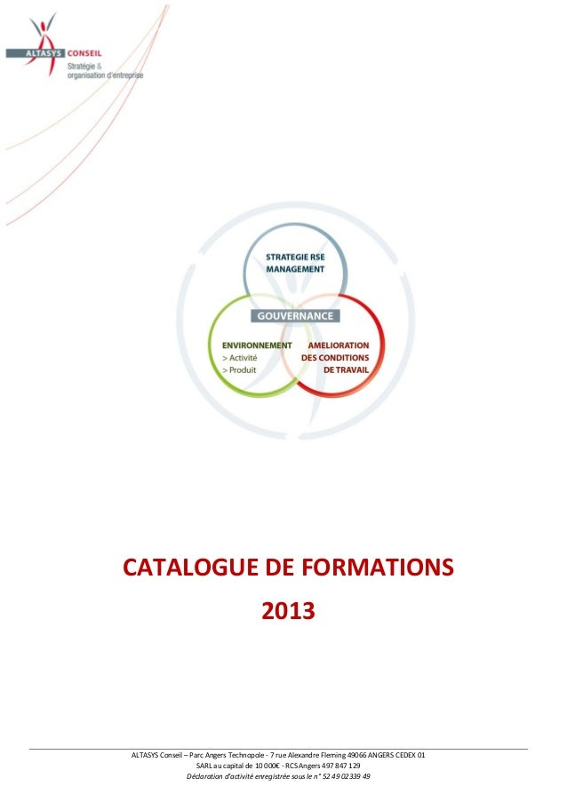 Catalogue formations altasys conseil2013 for Quelle fr catalogue 2013