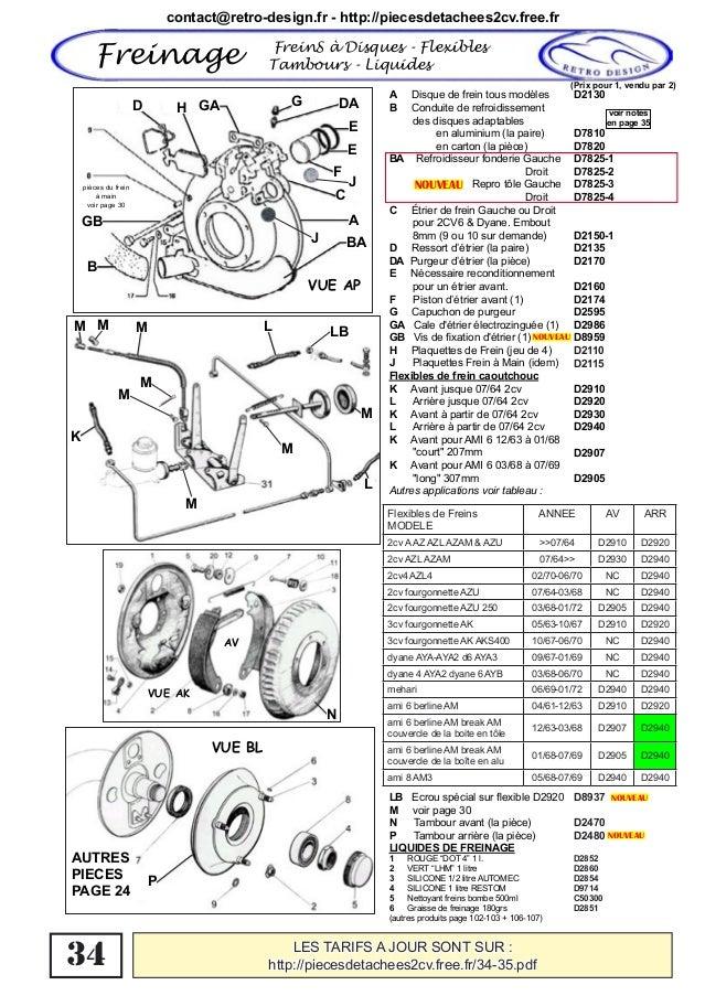 catalogue pi u00e8ces d u00e9tach u00e9es freinage 2cv dyane acadiane
