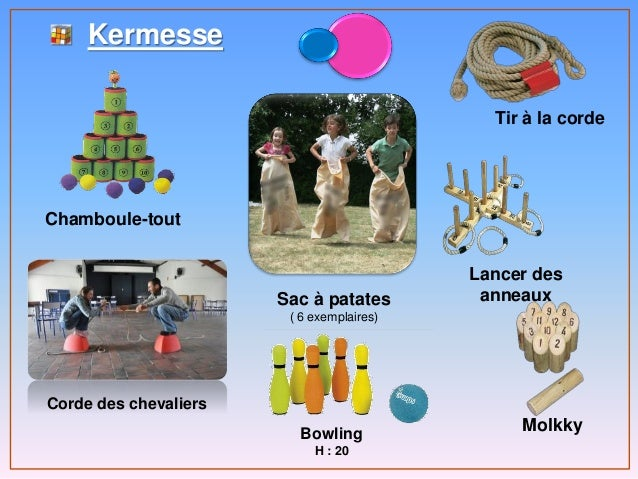 Kermesse Sac à patates ( 6 exemplaires) Chamboule-tout Tir à la corde Lancer des anneaux Molkky Corde des chevaliers Bowli...