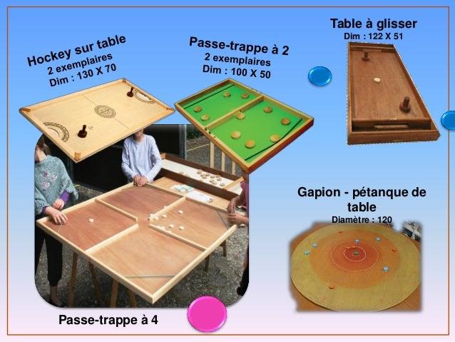 Passe-trappe à 4 Table à glisser Dim : 122 X 51 Gapion - pétanque de table Diamètre : 120