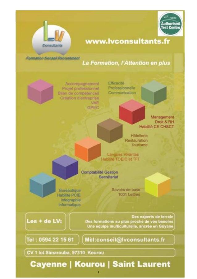 Catalogue des formations proposées en Guyane par LV consultants