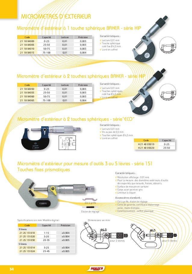 Extérieur Externe Micromètre Set 0-100mm Cliquet Arrêt Type