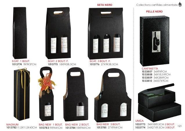 SETA NERO  Collections certifiées alimentaire PELLE NERO  SCAT. 1 BOUT. 1013774 9X9X37CM  SCAT. 2 BOUT. F. 1013775 18X9X38...