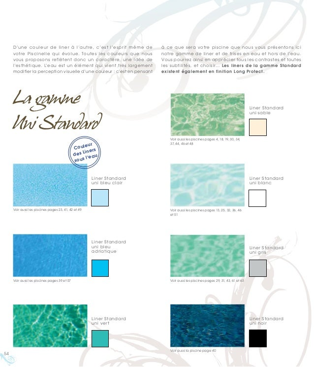 Catalogue piscine piscinelle 2011 la piscine comme for Choisir couleur liner piscine